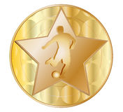 Gold medal with a star and a footballer.Vector Royalty Free Stock Photo