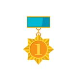 Gold medal star isolated on a white background. Award gold winner prize icon in flat style Royalty Free Stock Photography