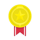 Gold medal with star and ribbon. Royalty Free Stock Photography