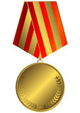 Gold medal with striped ribbon Royalty Free Stock Photo