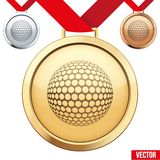 Gold Medal with the symbol of a golf inside Royalty Free Stock Image
