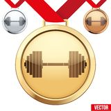 Gold Medal with the symbol of a gym inside Royalty Free Stock Photos