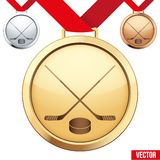 Gold Medal with the symbol of ice hockey inside. Three Medals with the symbol of ice hockey inside. Gold, Silver and Bronze. Vector Illustration isolated on Royalty Free Stock Image