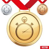 Gold Medal with the symbol of a stopwatch inside Stock Photo