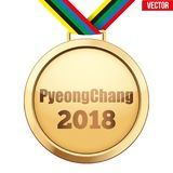 Gold medal with text PyeongChang 2018 stock image