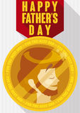 Gold Medal to the Best Dad in Father`s Day, Vector Illustration. Poster in flat style and long shadow with golden medal with man face inside to award to the best vector illustration