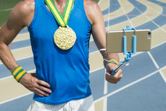 Gold Medal Track Athlete Taking Selfie Royalty Free Stock Photos