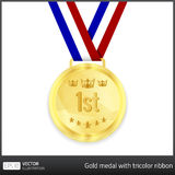 Gold medal with tricolor ribbon. Gold medal with 1st tag and illustration of a crown and stars. Tricolor ribbon in background Stock Images