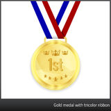 Gold medal with tricolor ribbon. Gold medal with 1st tag and illustration of a crown and stars. Tricolor ribbon in background Stock Photos