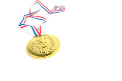Gold medal. With trophy symbol on white background. Success concept Royalty Free Stock Photos