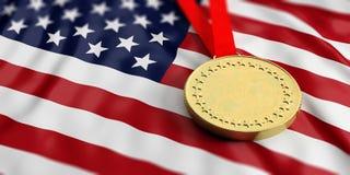 Gold medal on USA flag. Horizontal, full frame closeup view. 3d illustration. Gold medal on waving America flag. Horizontal, full frame, closeup view. 3d Stock Images