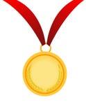 Gold medal vector illustration. On white Stock Photos