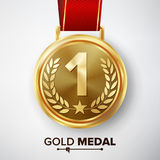 Gold Medal Vector. Metal Realistic First Placement Achievement. Round Medal With Red Ribbon, Relief Detail Of Laurel Wreath And St Royalty Free Stock Photo