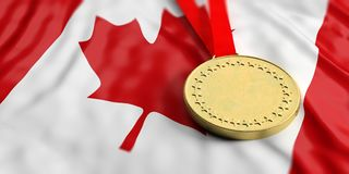 Gold medal on Canada flag. Horizontal, full frame closeup view. 3d illustration. Gold medal on waving Canada flag. Horizontal, full frame, closeup view. 3d Royalty Free Stock Photos