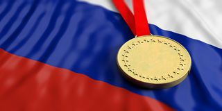 Gold medal on Russia flag. Horizontal, full frame closeup view. 3d illustration. Gold medal on waving Russia flag. Horizontal, full frame, closeup view. 3d Stock Images