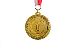 Gold medal. White background, horizontal Royalty Free Stock Photos