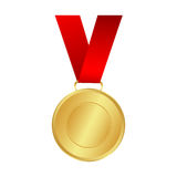 Gold medal winner of the prize- on a red ribbon. vector il Stock Images
