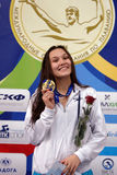 Gold medalist of Salnikov Cup Maria Temnikova. St. Petersburg, Russia - December 17, 2016: Gold medalist in women 200 m breaststroke swimming Maria Temnikova in Royalty Free Stock Photography