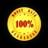 Gold medallion with the inscription money back, 100 percent guar. Gold medallion with the inscription money back and 100 percent guarantee royalty free illustration