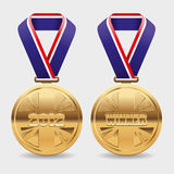 Gold Medals. Editable vector illustration of gold medals with room to place your own text Stock Photo