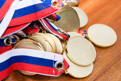 Gold medals. Before handing to champions Stock Photos