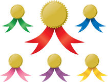 Gold medals. Or awards with various colored ribbons Royalty Free Stock Photo