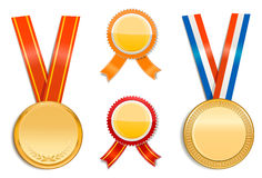 Gold medals and badges Stock Photo