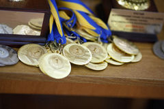Gold medals for first place Royalty Free Stock Images