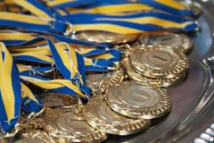 Gold medals for first place Stock Images