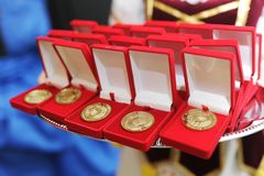 Gold medals in a group Stock Photos