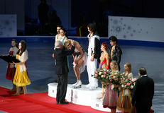 Gold medals for Maxim Shabalin and Oksana Domnina. ISU European Figure Skating Championship 2010 in Tallinn, Estonia. Maxim Shabalin and Oksana Domnina from Royalty Free Stock Photography