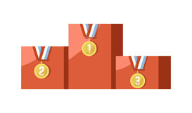 Gold medals for prize-winning places on pedestal isolated illustration. Gold medals for prize-winning places with striped ribbons on pedestal isolated cartoon Stock Image
