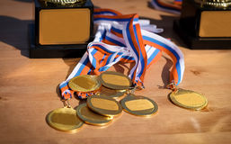 Gold medals with ribbons Russian flag stock photo