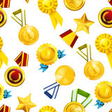 Gold medals, seamless pattern Stock Photo