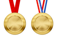 Gold medals set with different ribbons Stock Photo