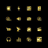 Gold media icons Stock Image