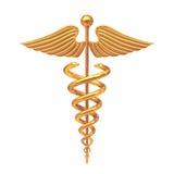 Gold Medical Caduceus Symbol. 3d Rendering Royalty Free Stock Image
