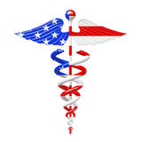 Gold Medical Caduceus Symbol as United States of America USA Fla Royalty Free Stock Images