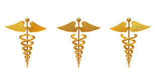 Gold Medical Caduceus Symbol. 3d Rendering Stock Photography
