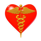 Gold Medical Caduceus Symbol in front of Red Heart. 3d Rendering Royalty Free Stock Photos