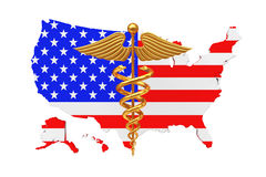 Gold Medical Caduceus Symbol with United States of America USA F. Lag a white background. 3d Rendering Royalty Free Stock Photo