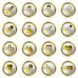 Gold medical icons set Royalty Free Stock Photo