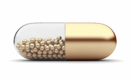 Gold medical pill 3D. Vitamins. Isolated Stock Images