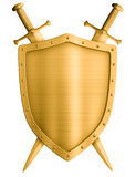 Gold medieval knight shield and crossed swords isolated Royalty Free Stock Images