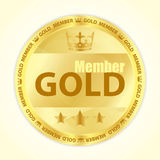 Gold member badge with royal crown and three golden stars. Gold member badge with royal crown Royalty Free Stock Image