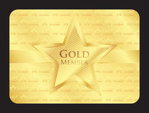 Gold member club card with big star Royalty Free Stock Photography