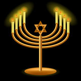 Gold Menorah with Burning Candles Stock Photography