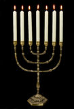 Gold menorah candles Royalty Free Stock Photos