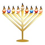 Gold menorah icon, realistic style stock illustration