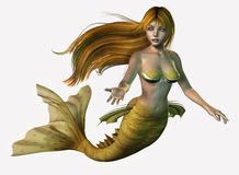 Gold Mermaid. 3D render of a mermaid with long, flowing hair Royalty Free Stock Photo